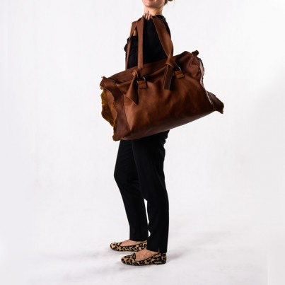 Byron weekender - Aquapelle Nutmeg leather
