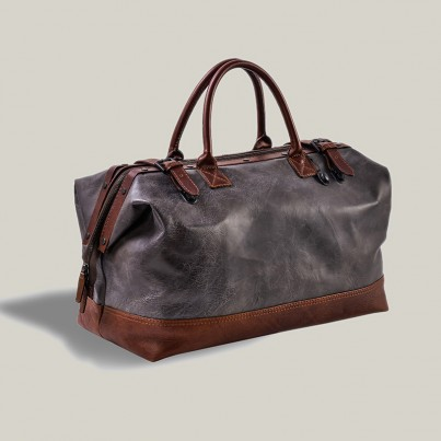 Destroyed Black Leather -  Weekend bag Hampton