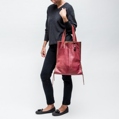 Modique Claret Leather Tote Bag