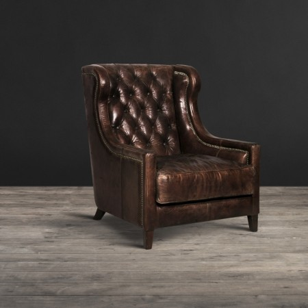 Big Horn armchair shown in Vintage Cigar leather