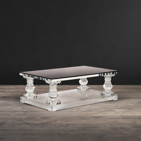 Crystalline Baluster coffee table shown in Black Glass & Acrylic