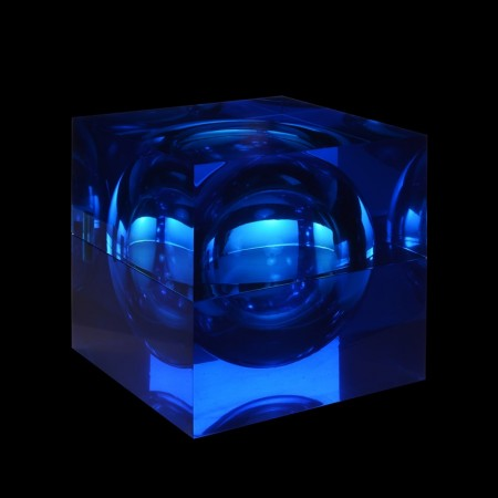 Cube with Sphere shown in Blue