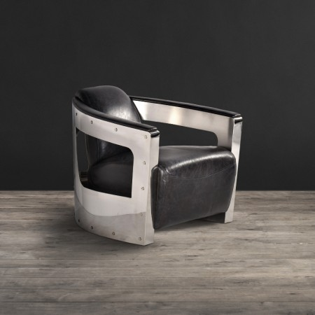 Armchair - Old Saddle Black leather With Shiny Steel