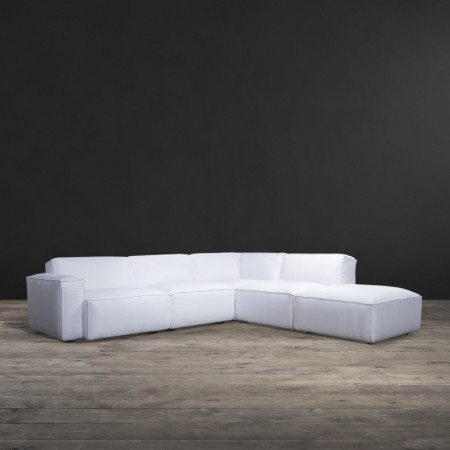 Nirvana Medium Sectional sofa shown in Whsipy White