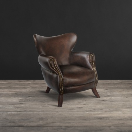 Scholar armchair shown in Old Saddle Cocoa leather