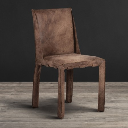 Dining Chair - Scarecrow Brown leather