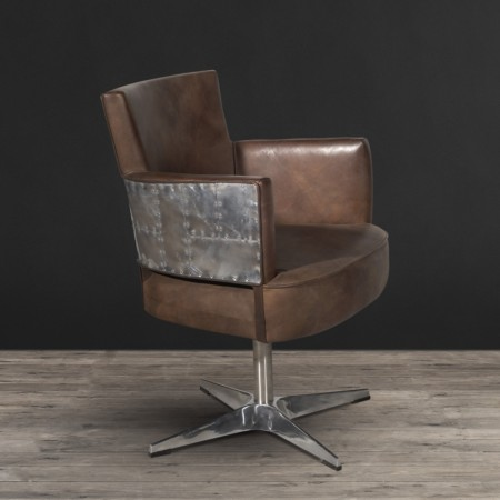 Swivel Chair shown in Destroyed Raw leather & Spitfire