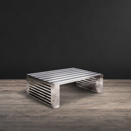 Zazenne coffee table shown in Shiny Steel