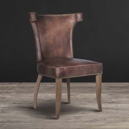 Dining chair shown in Destroyed Raw leather & Weathered Oak